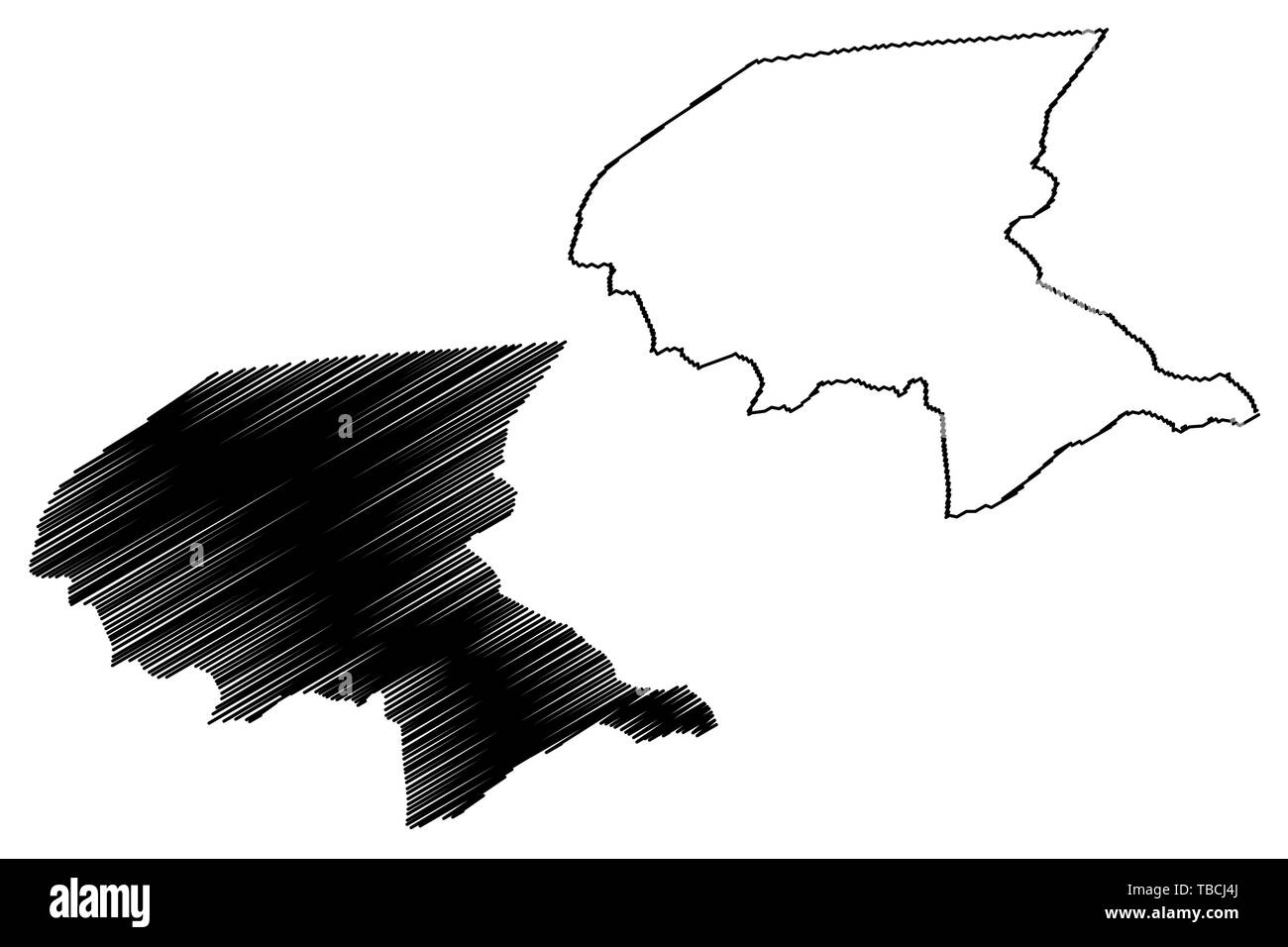 Shabwah Governorate (Governorates of Yemen, Republic of Yemen) map vector illustration, scribble sketch Shabwah map - Stock Vector