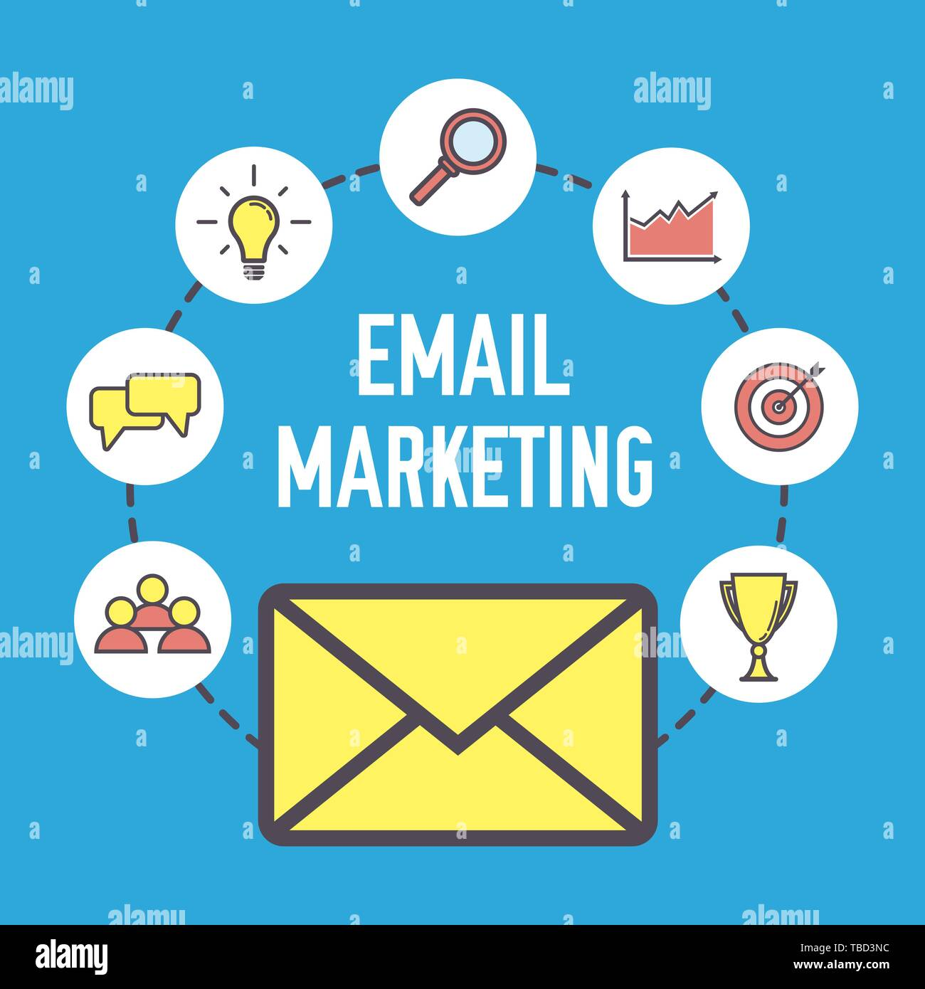 email marketing design flat banner concept with icons digital marketing vector illustration on blue background stock vector image art alamy https www alamy com email marketing design flat banner concept with icons digital marketing vector illustration on blue background image247994696 html