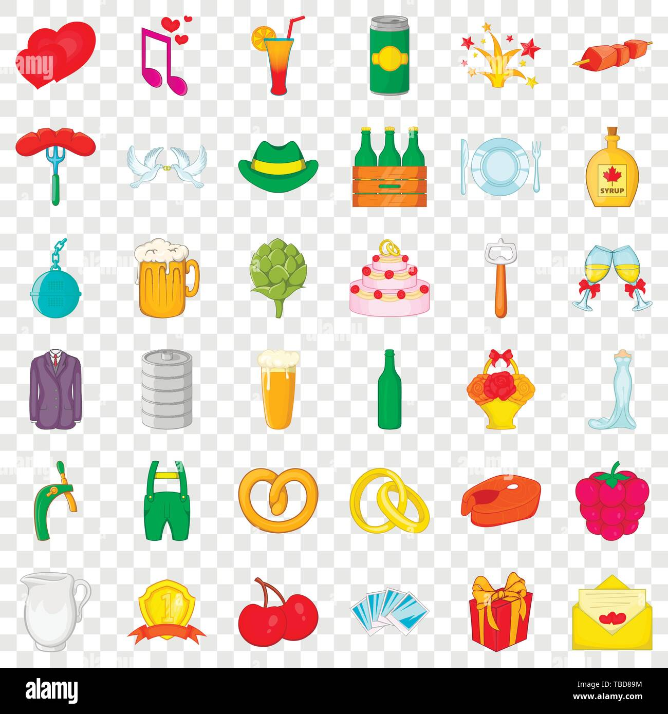 Grille icons set, cartoon style - Stock Image
