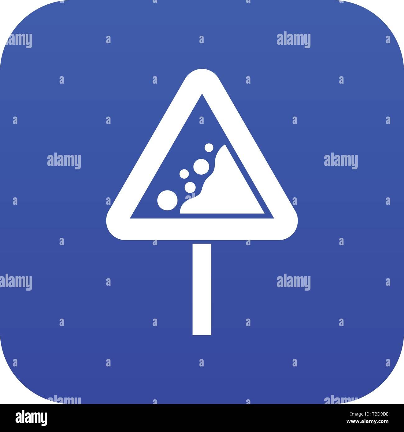 Falling rocks warning traffic sign icon digital blue - Stock Image