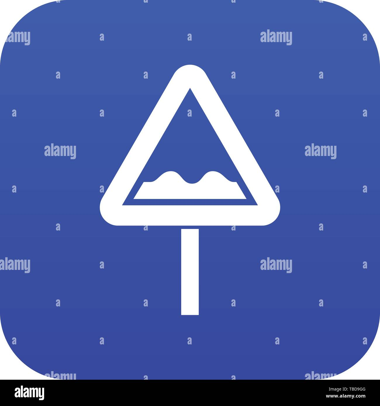 Uneven triangular road sign icon digital blue - Stock Image
