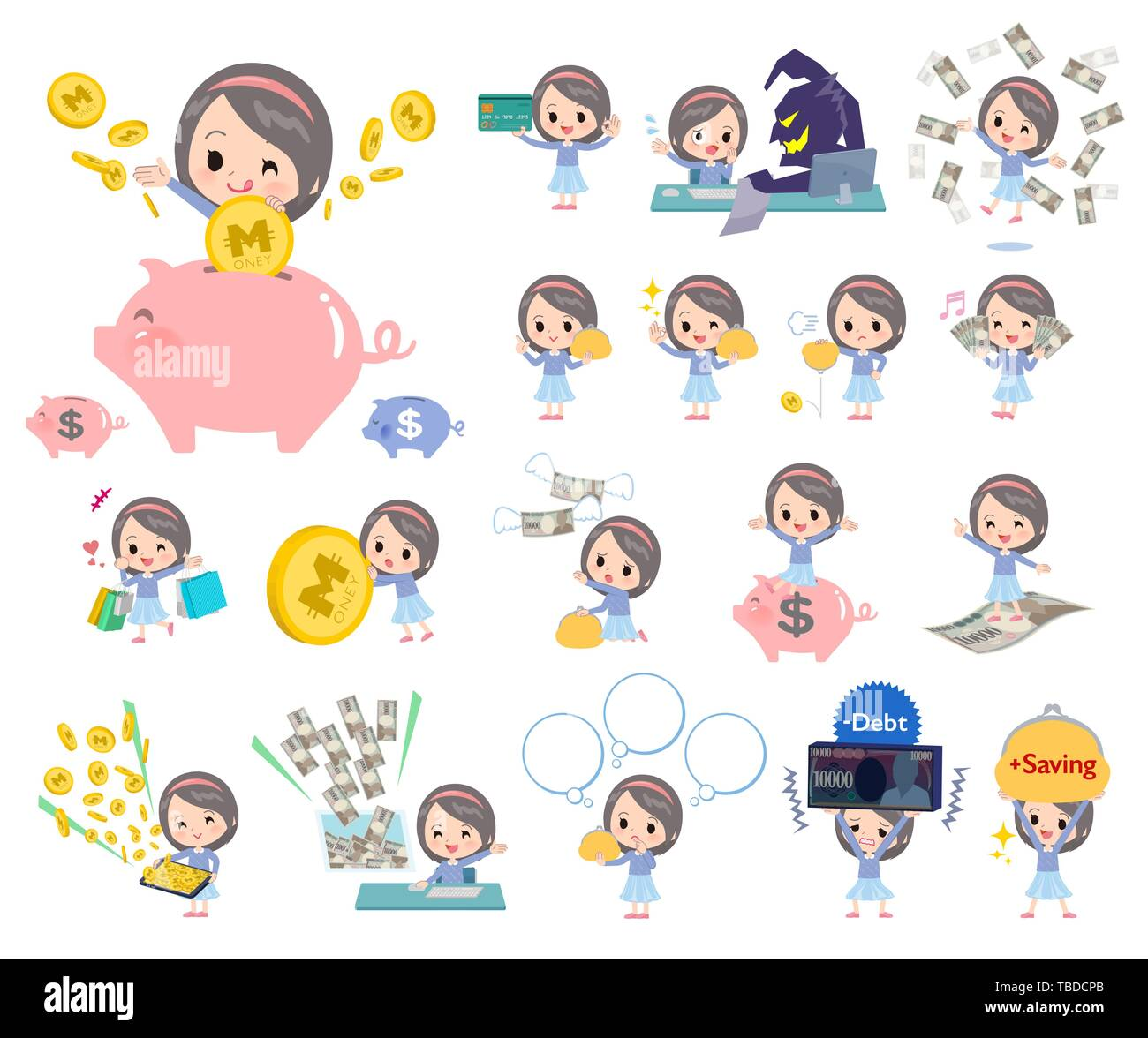 A set of girl with concerning money and economy.There are also actions on success and failure.It's vector art so it's easy to edit. - Stock Image