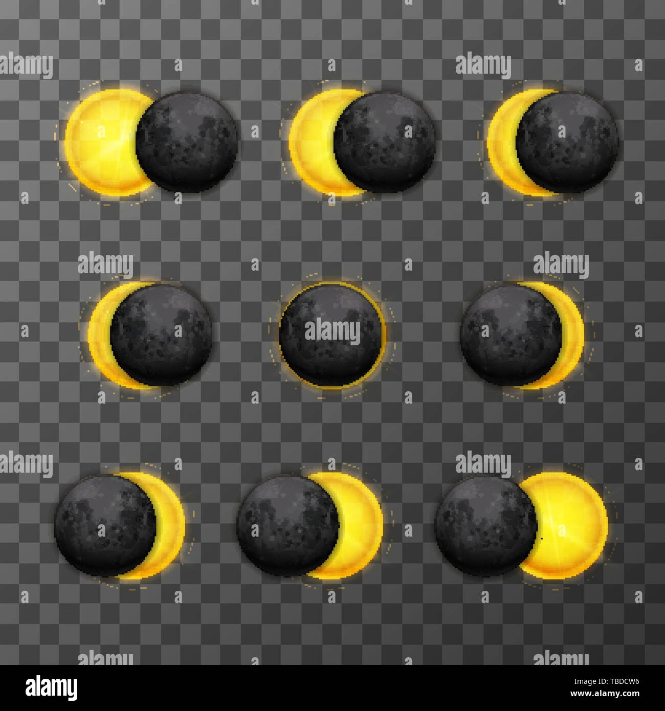 Set of nine eclipse stages with realistic satellite moon and star sun on transparent background - Stock Image
