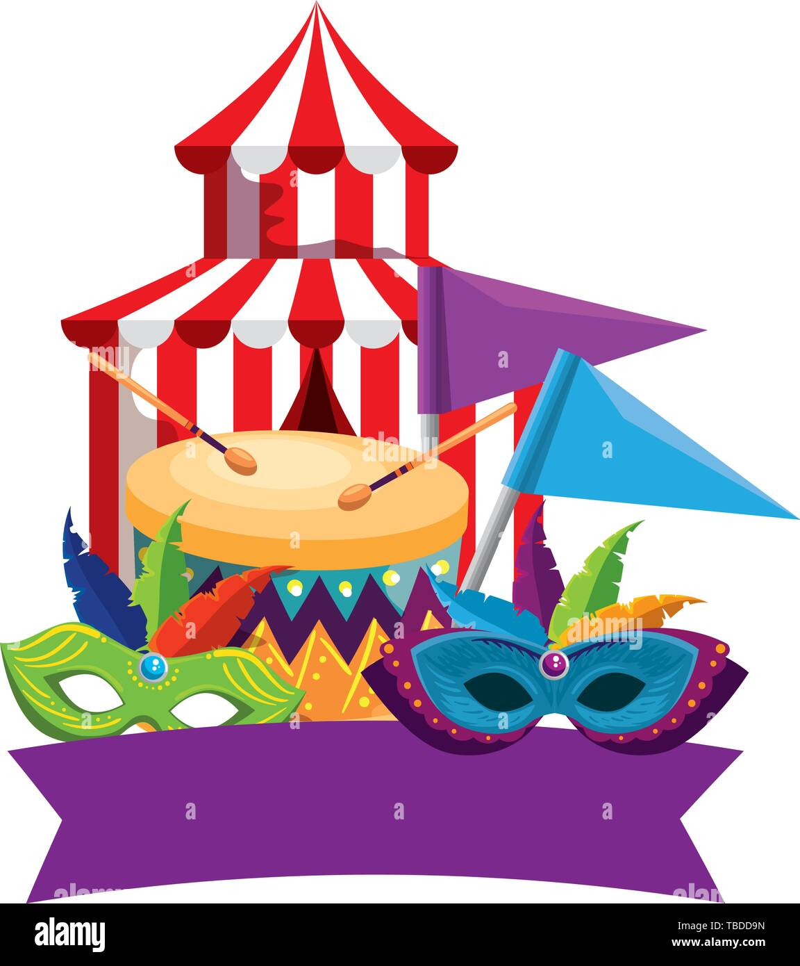 circus tent carnival with drum and masks - Stock Image