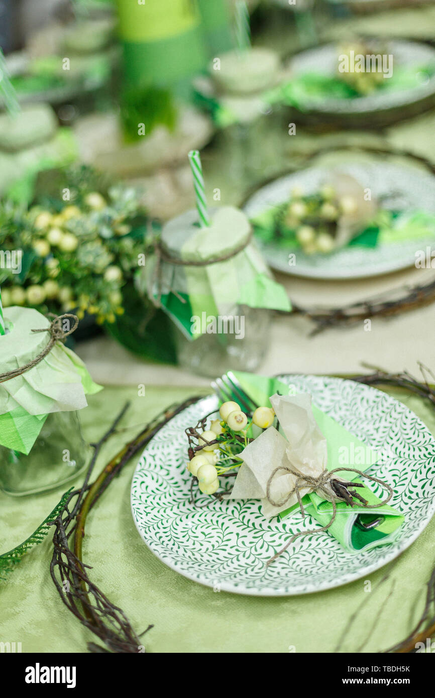 Served Table At Restaurant Preparation For Banquet Restaurant Table Decoration For Festive Event Green Color Stock Photo Alamy