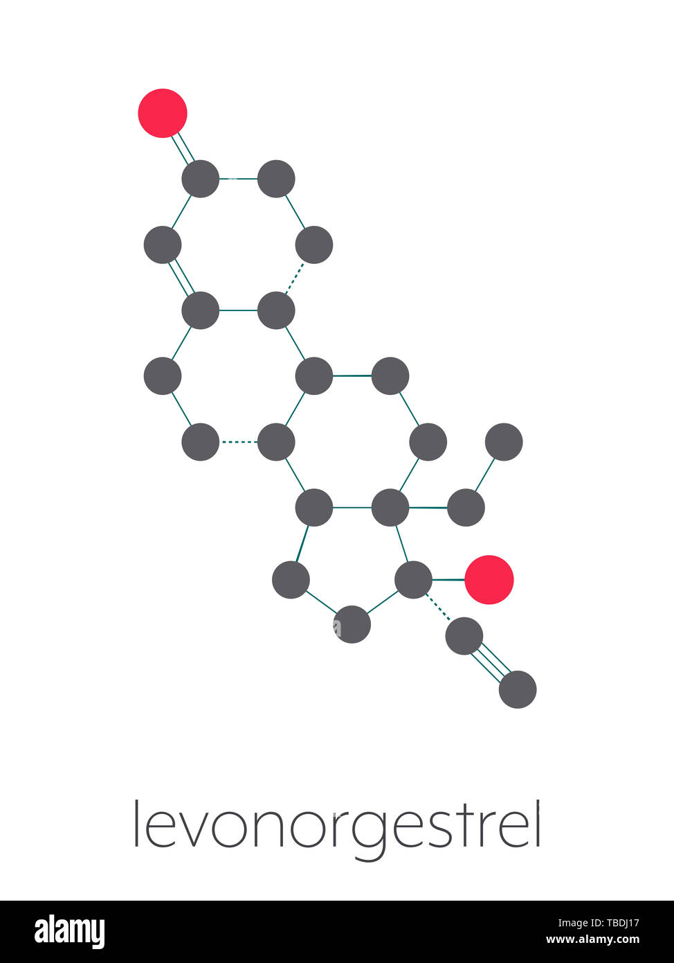 Levonorgestrel contraceptive pill drug molecule. Stylized skeletal formula (chemical structure). Atoms are shown as color-coded circles connected by thin bonds, on a white background: hydrogen (hidden), carbon (grey), oxygen (red) - Stock Image