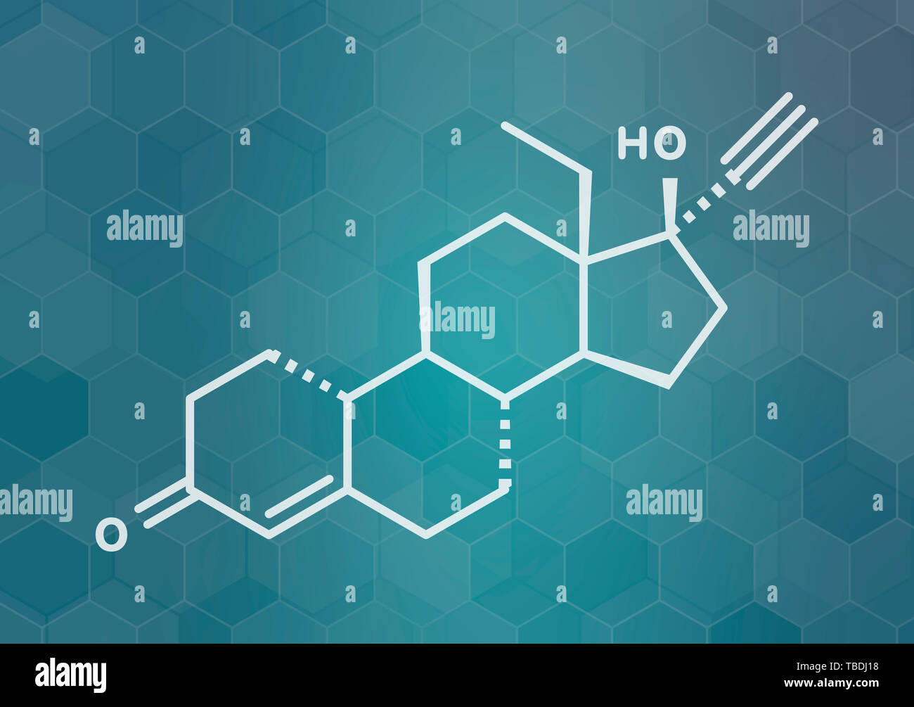 Levonorgestrel contraceptive pill drug molecule. White skeletal formula on dark teal gradient background with hexagonal pattern. - Stock Image