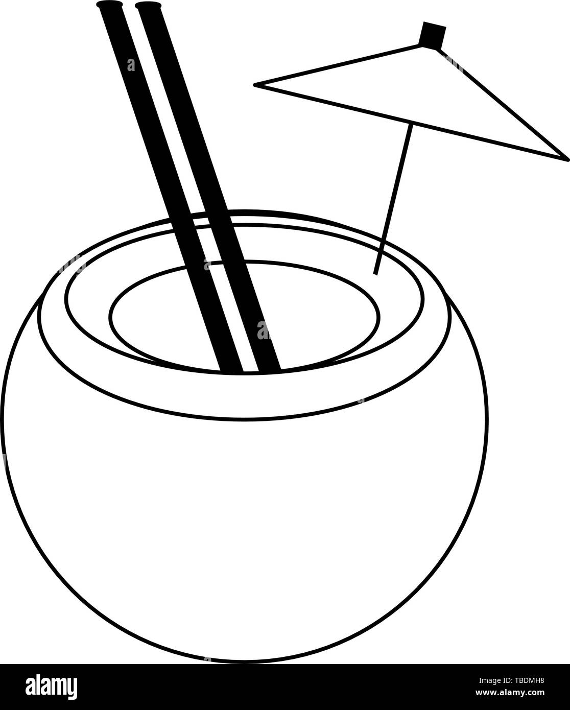 Coconut Cocktail With Straw And Umbrella Cartoon In Black And White Stock Vector Image Art Alamy