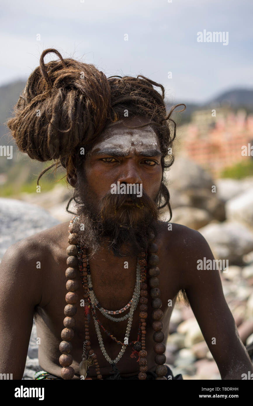 Rishikesh, Uttarakhand / India - 03 12 2019, Portrait of Sadhus