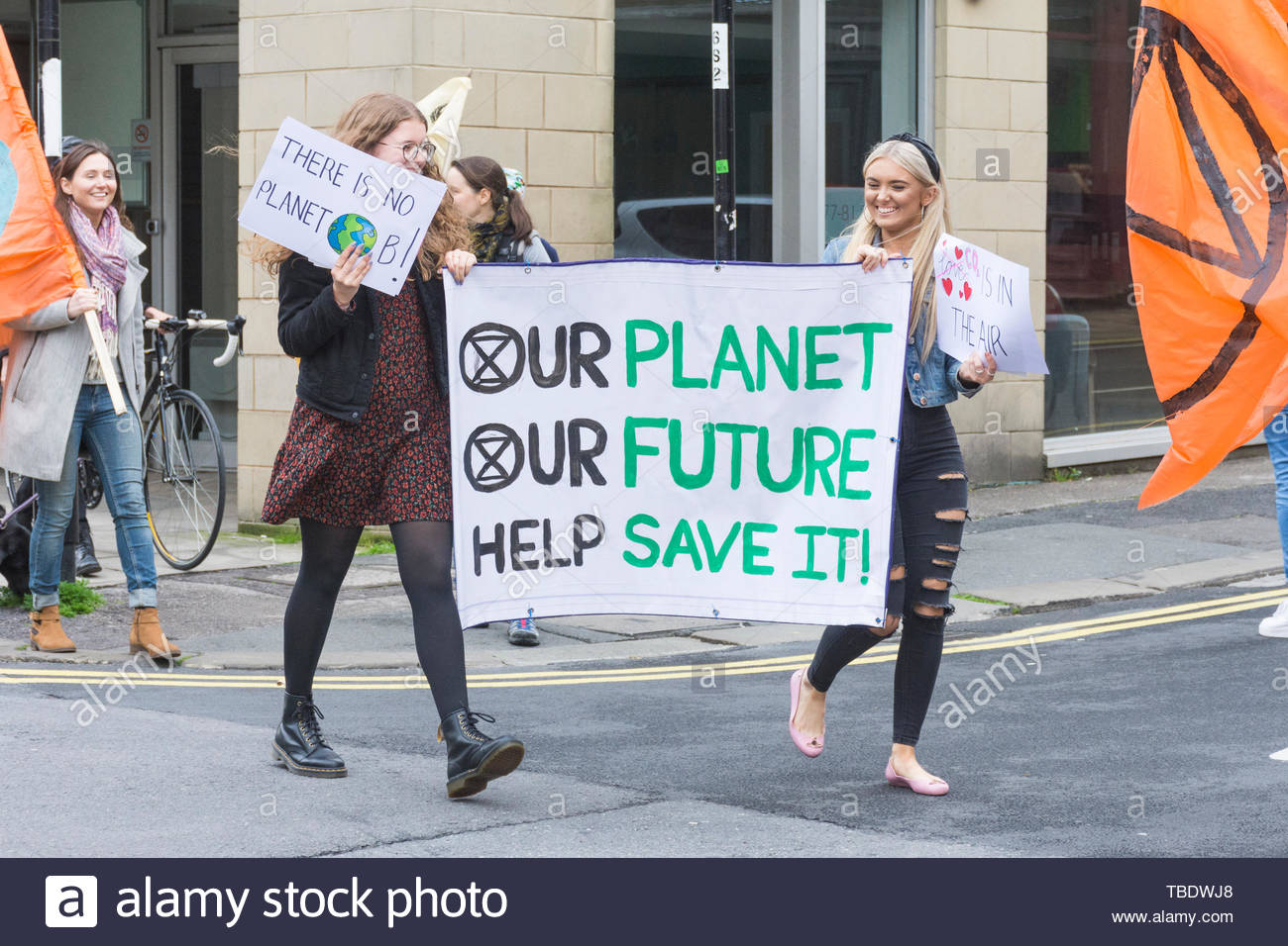 Lancaster, Lancashire, England, UK. 31st May, 2019. Morecambe Bay Extinction Rebels hold a second Critical Mass Event starting in Dalton Square, Lancaster to increase awareness of the impacts of Climate Change and to seek drastic action to reduce the increase in CO2 levels. - Stock Image