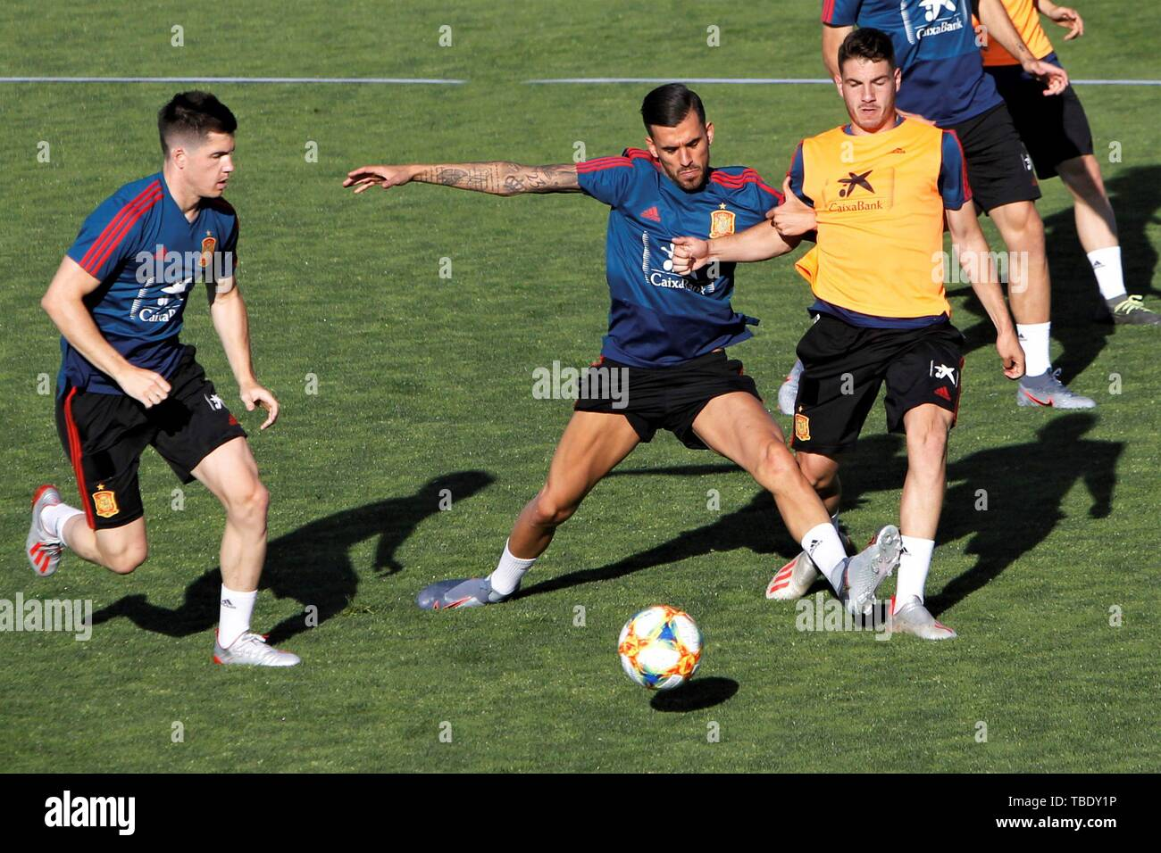 Spain's under21 national team players participate in a training session at Las Rozas Soccer City in Madrid, Spain, 31 May 2019. Spain is preparing ahead 2019 UEFA European Under-21 Championship, that will run from 16 to 30 June 2019. EFE/ Paolo Aguilar Stock Photo