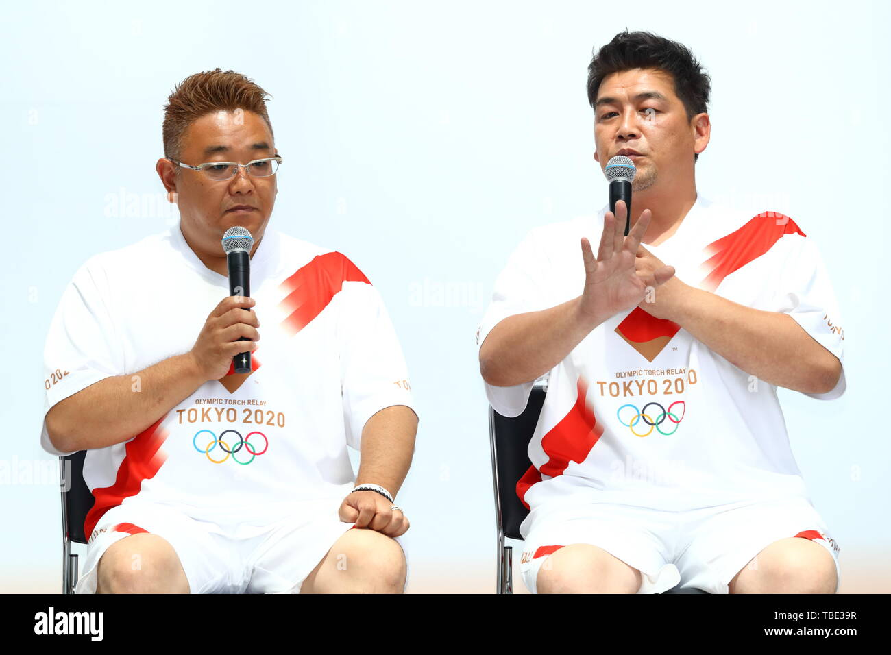 Tokyo, Japan. 1st June, 2019. Mikio Date & Takeshi Tomizawa, The Tokyo Organising Committee of the Olympic and Paralympic Games (Tokyo 2020) holds commemorative event of Torch Relay in Tokyo, Japan on June 1, 2019, 300 days before of the Japanese leg of the Tokyo 2020 Olympic Torch Relay starts. The Organising Committee unveiled an official uniform, course outline and applicant guidelines for Torch Relay Runners. Credit: Naoki Nishimura/AFLO SPORT/Alamy Live News - Stock Image