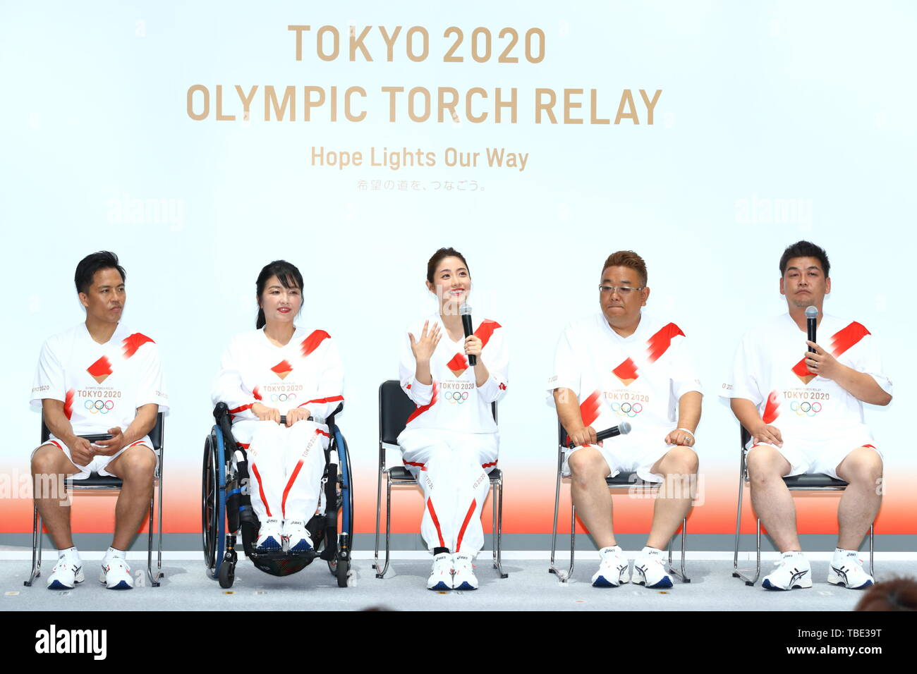 Tokyo, Japan. 1st June, 2019. (L-R) Tadahiro Nomura, Aki Taguchi, Satomi Ishihara, Mikio Date, Takeshi Tomizawa, The Tokyo Organising Committee of the Olympic and Paralympic Games (Tokyo 2020) holds commemorative event of Torch Relay in Tokyo, Japan on June 1, 2019, 300 days before of the Japanese leg of the Tokyo 2020 Olympic Torch Relay starts. The Organising Committee unveiled an official uniform, course outline and applicant guidelines for Torch Relay Runners. Credit: Naoki Nishimura/AFLO SPORT/Alamy Live News - Stock Image