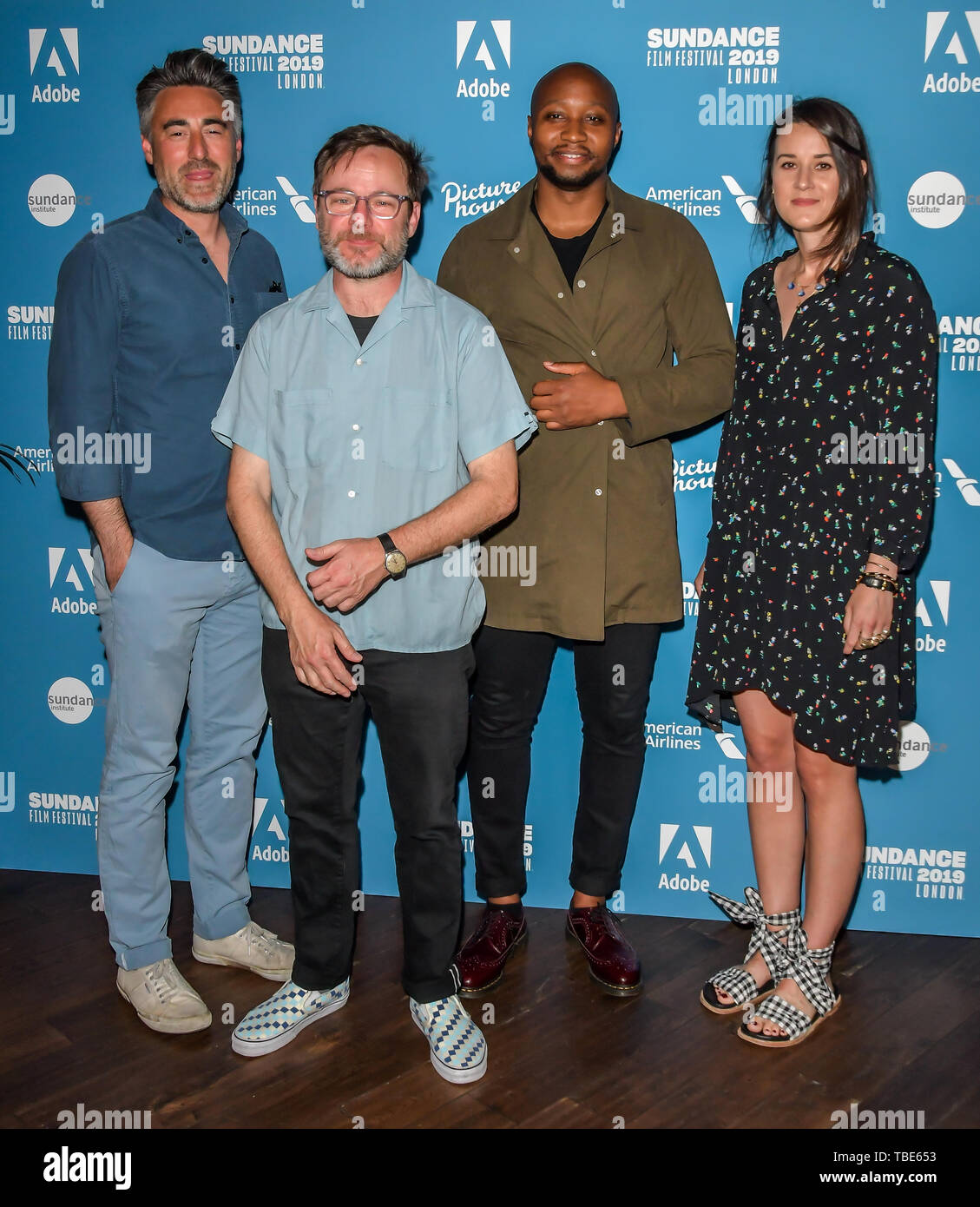 William Oldroyd,Mike Plante,Shola Amoo and Lauren Dark arrivers at Sundance London: Short To Features: A Two-Way Street - photocall at Picturehouse Central, on 1st June 2019, London, UK. Credit: Picture Capital/Alamy Live News - Stock Image