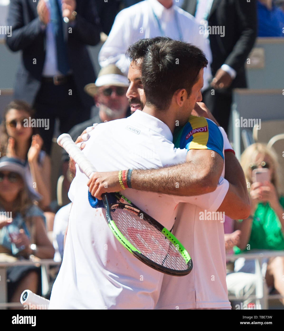 Paris, France. 1st June, 2019. Salvatore Caruso (ITA) is defeated by Novak Djokovic (SRB) 6-3, 6-3, 6-2, at the French Open being played at Stade Roland-Garros in Paris, France. © Karla Kinne/Tennisclix 2019/CSM/Alamy Live News Stock Photo