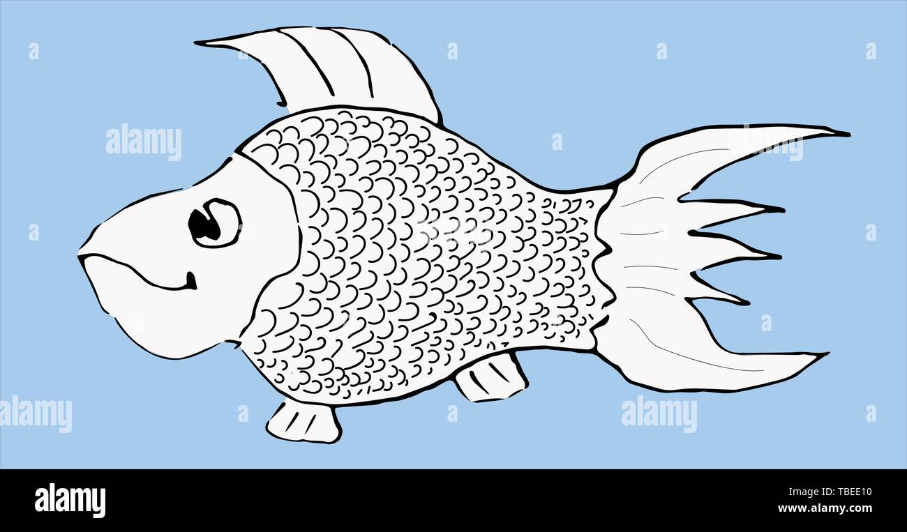 Black and white sketch of a fish on a blue background. Site about fish, humor, graphics. Vector illustration. - Stock Image