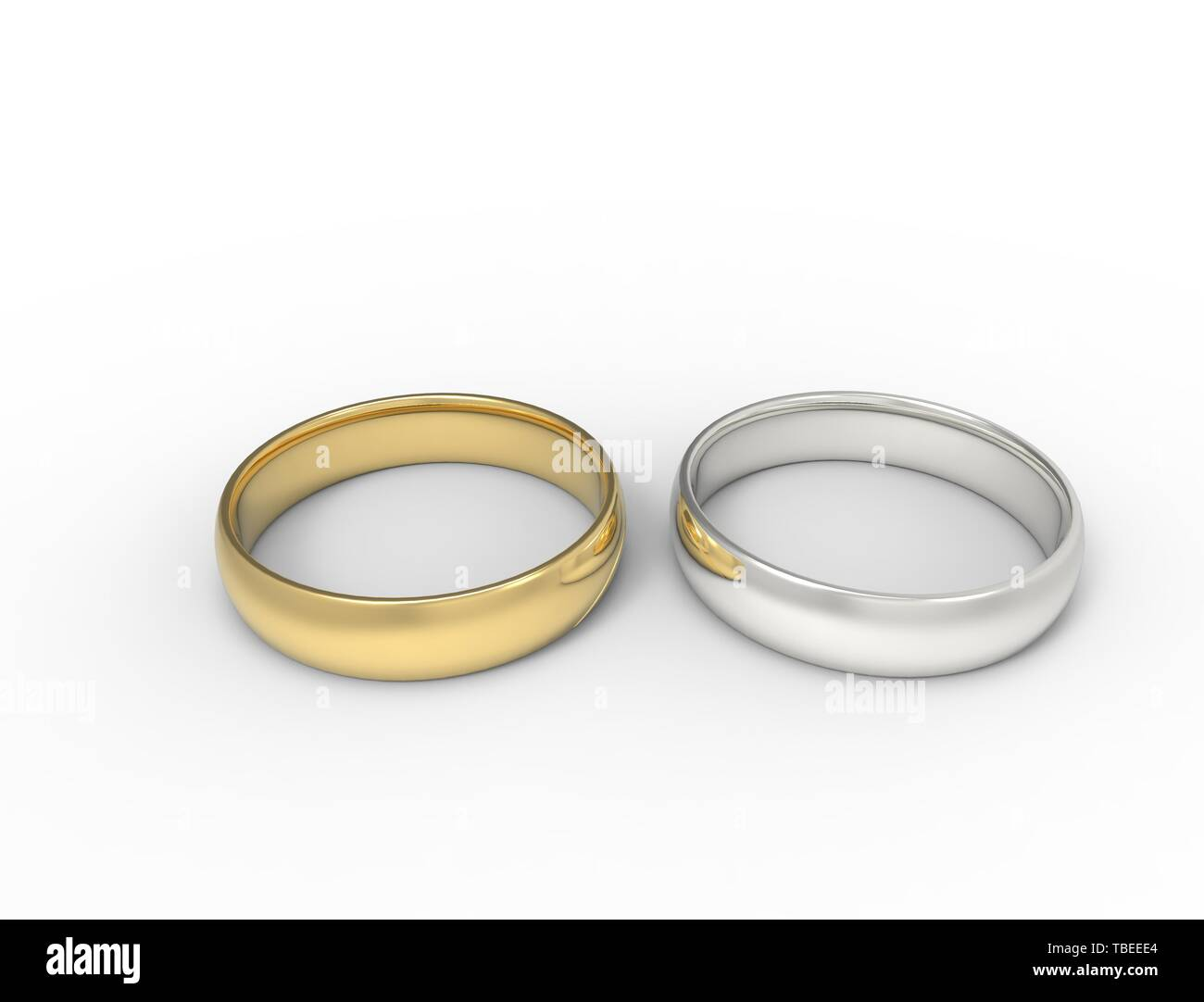 3d Rendering Of Two Rings Gold And Silver Isolated In White