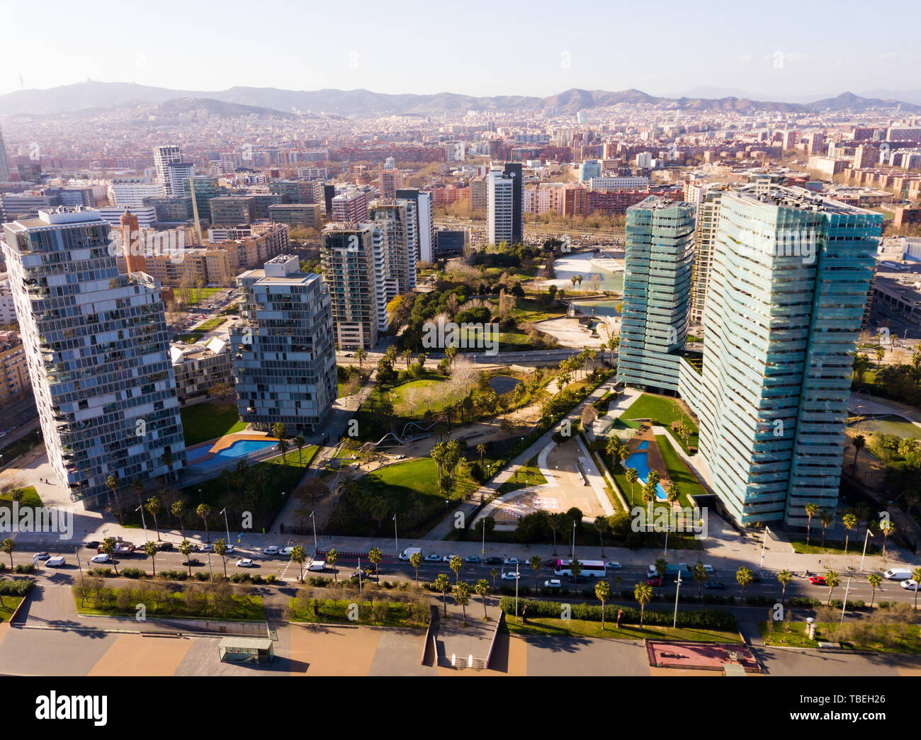 Panoramic aerial view of modern area of Diagonal Mar i el Front Maritim del Poblenou in coastal zone of Barcelona, Spain Stock Photo