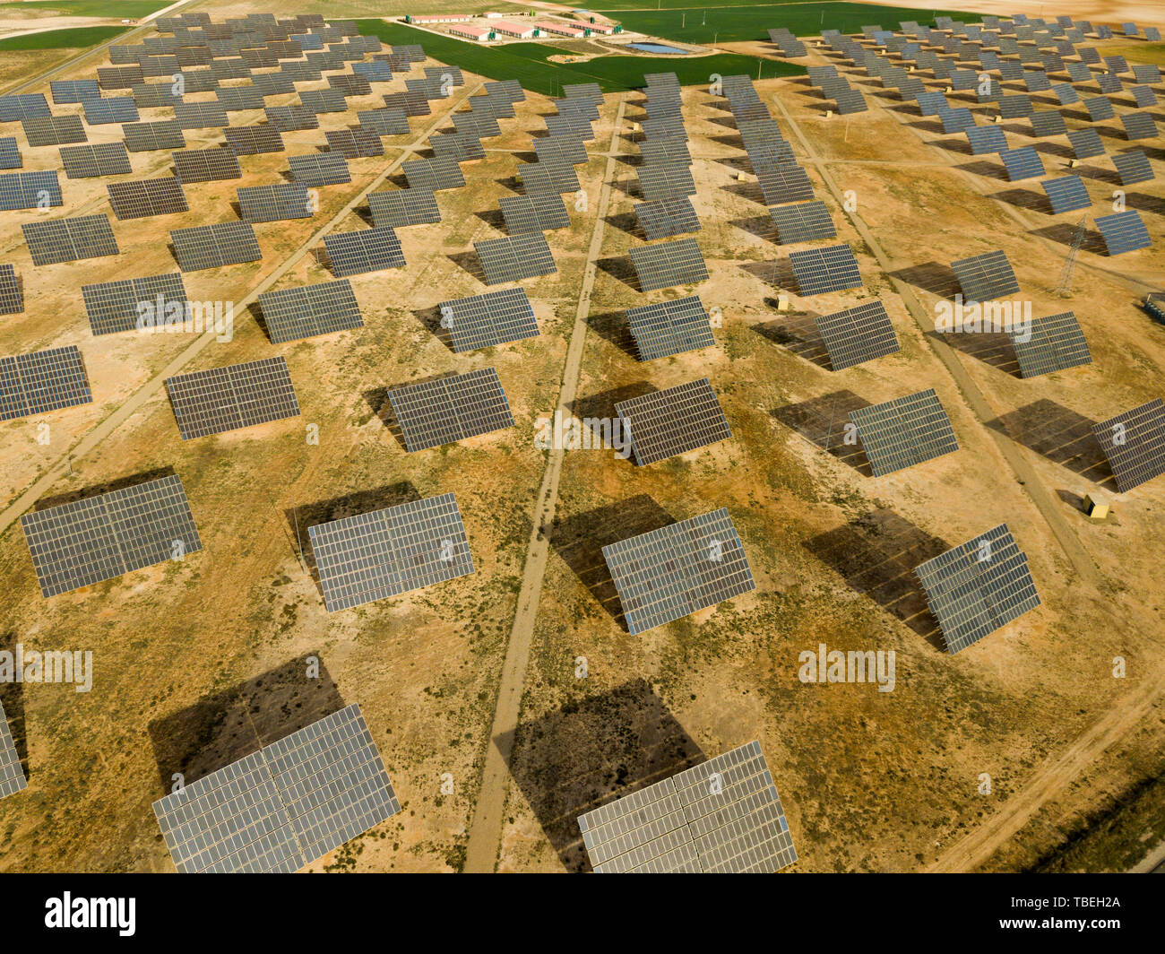Top view of the electric power polar panel system at desert ...