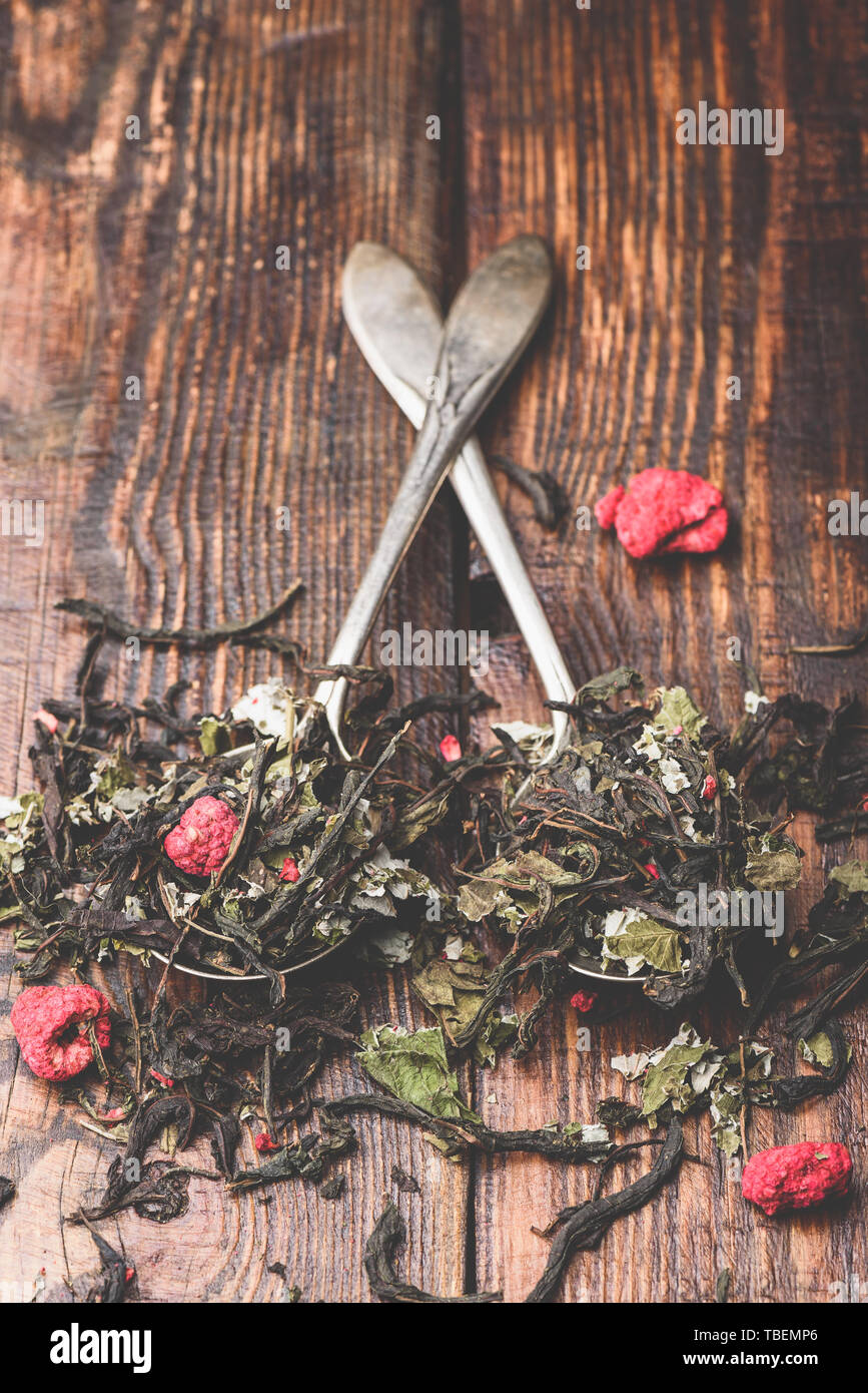 Two spoonfuls of raspberry herbal tea - Stock Image