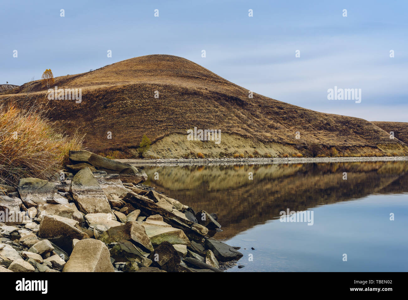 Hills on lakes coastline - Stock Image