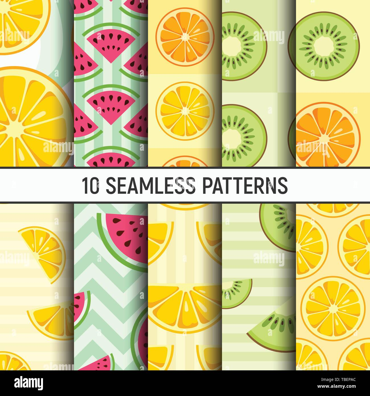 Set of ten lemon, orange, kiwi, watermelon slices seamless patterns. Cute style. Citrus fruits, Summer bright colors, juicy fresh backgrounds. - Stock Image
