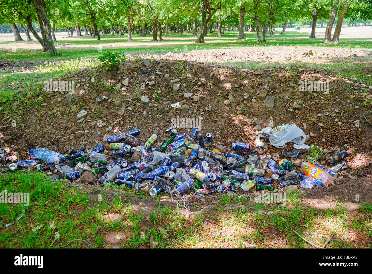 Dobrogea, Romania - May 19, 2019: Man made garbage pile in nature. Aluminium beer and soda cans, and a few plastic bottles thrown on the ground in a p Stock Photo