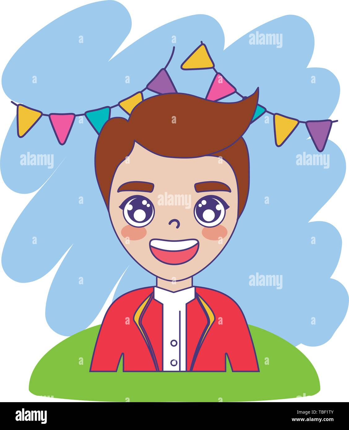 circus animal tamer male with garlands hanging vector illustration design - Stock Vector