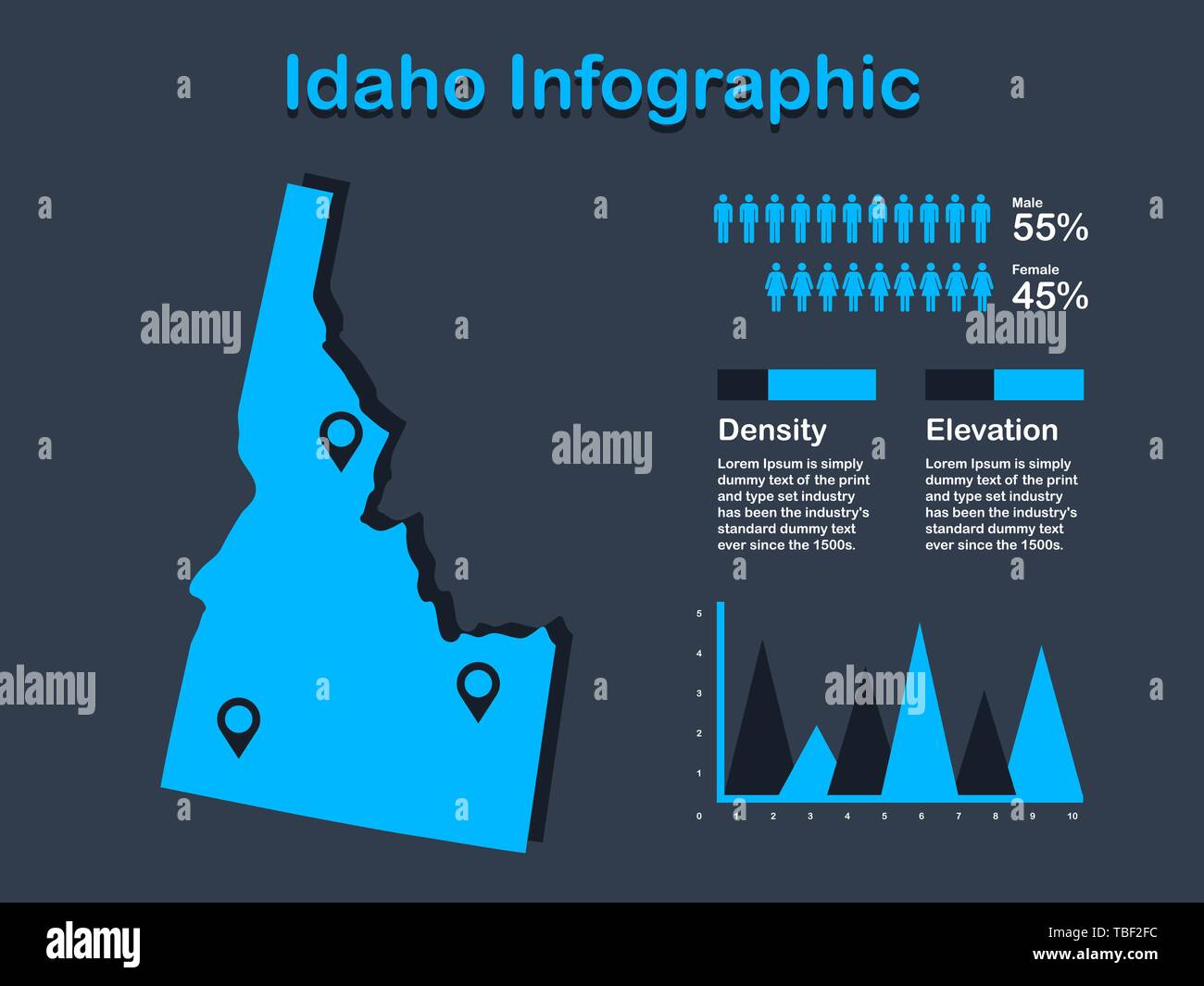 Idaho State (USA) Map with Set of Infographic Elements in Blue Color in Dark Background. Modern Information Graphics Element for your design. - Stock Vector