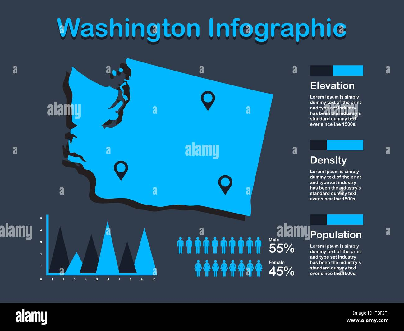 Washington State (USA) Map with Set of Infographic Elements in Blue Color in Dark Background. Modern Information Graphics Element for your design. - Stock Vector