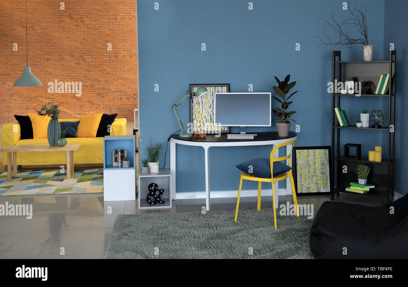 Stylish interior of modern studio apartment - Stock Image