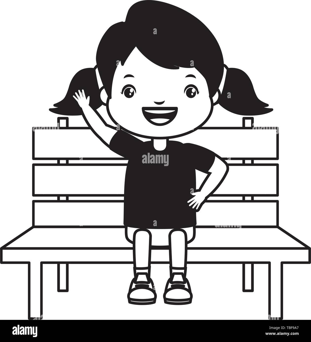girl sitting on bench - Stock Vector