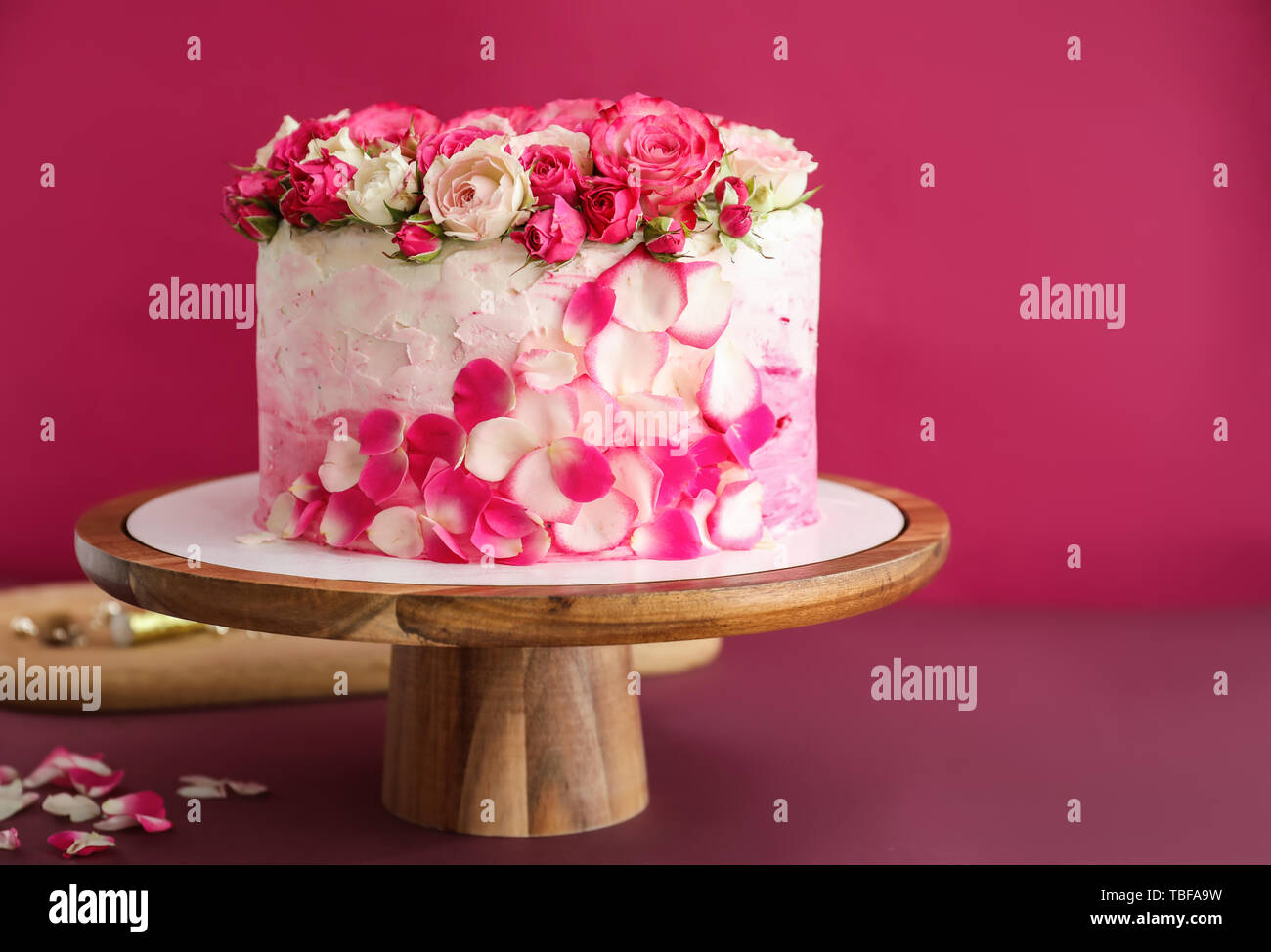 Incredible Stand With Tasty Birthday Cake On Color Background Stock Photo Personalised Birthday Cards Cominlily Jamesorg