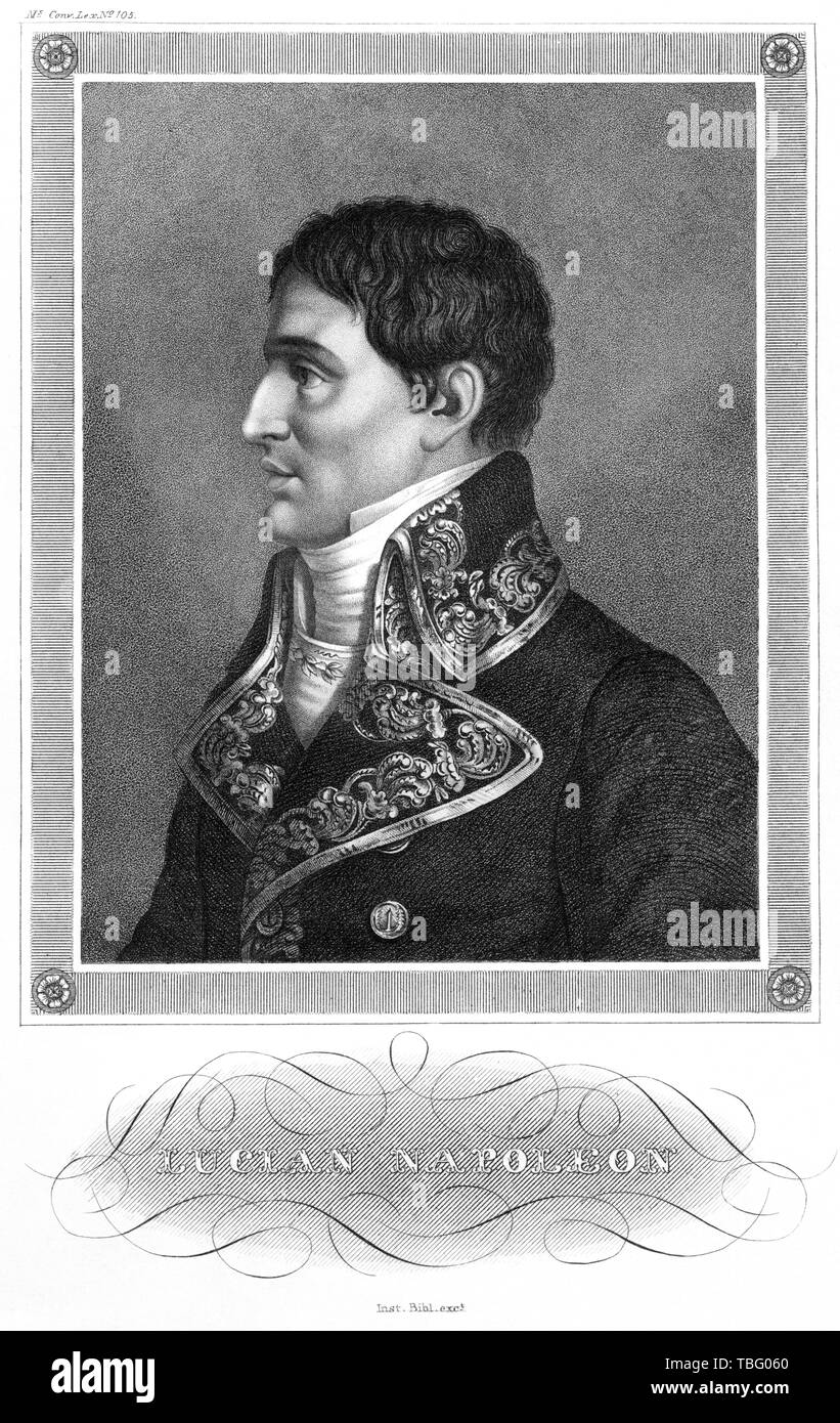 Europa, Frankreich, Korsika, Ajaccio, Lucian Bonaparte, Stahlstich, herausgegeben Inst. Bibl. , wahrscheinlich 1850er Jahre, konvertiert in Schwarzwei - Stock Image
