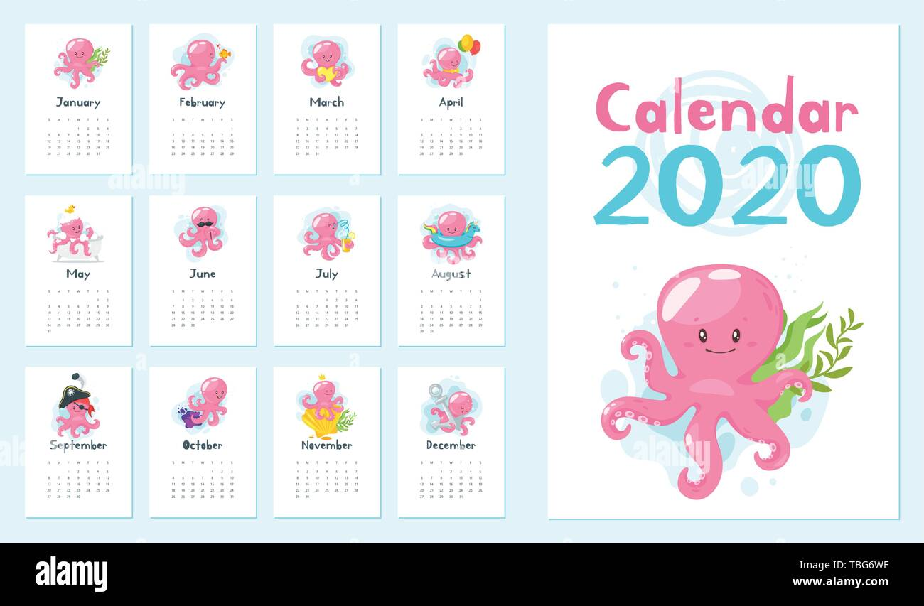 Oc Calendar 2020 Vector cartoon illustration of 2020 year calendar set with cute