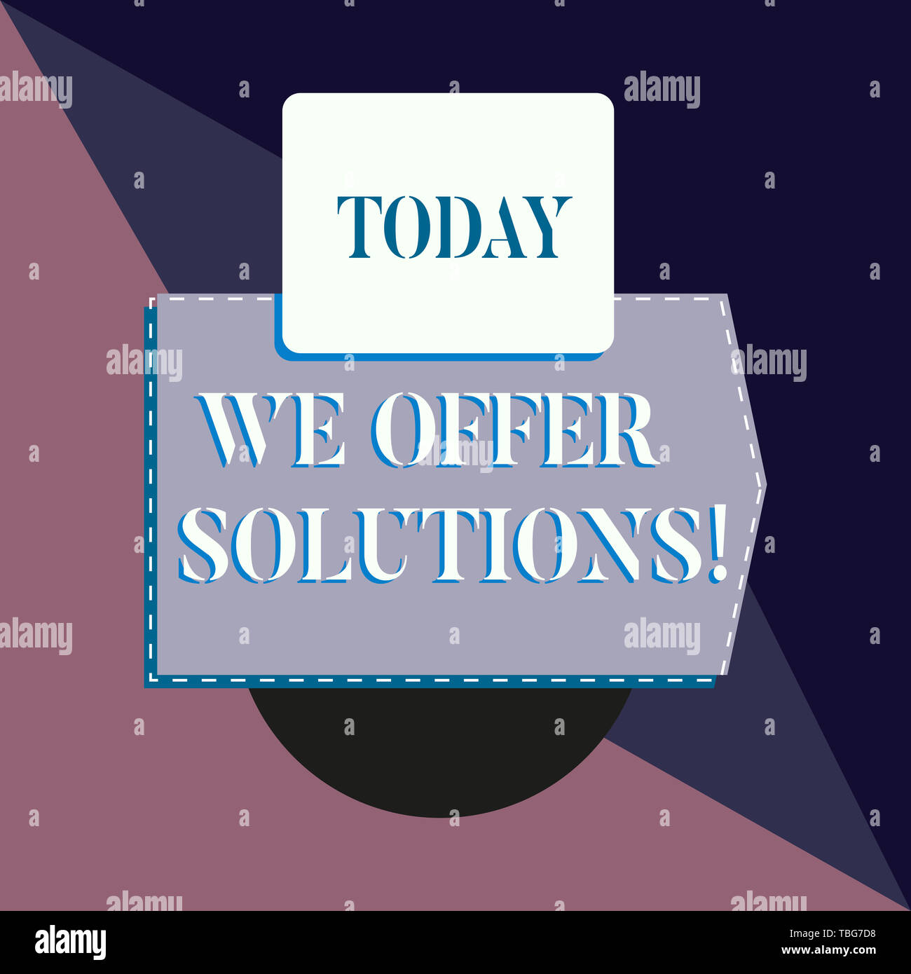 Conceptual hand writing showing We Offer Solutions. Concept meaning way to solve problem or deal with difficult situation Banner rectangle square abov - Stock Image