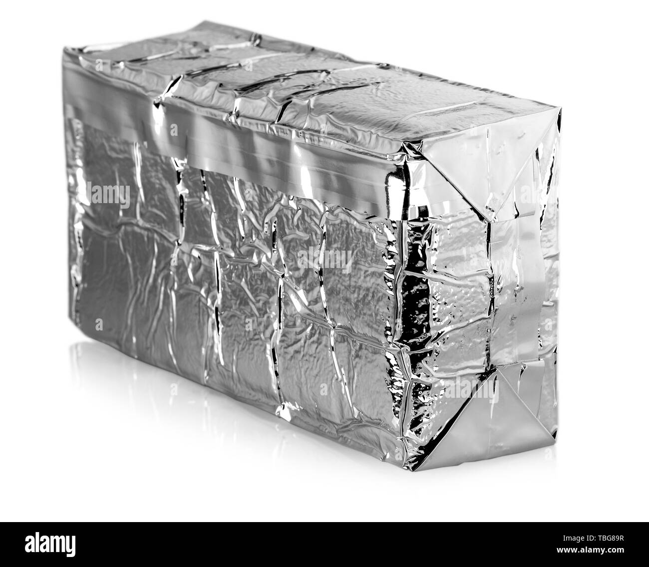 Silver foil food bag isolated on white background - Stock Image