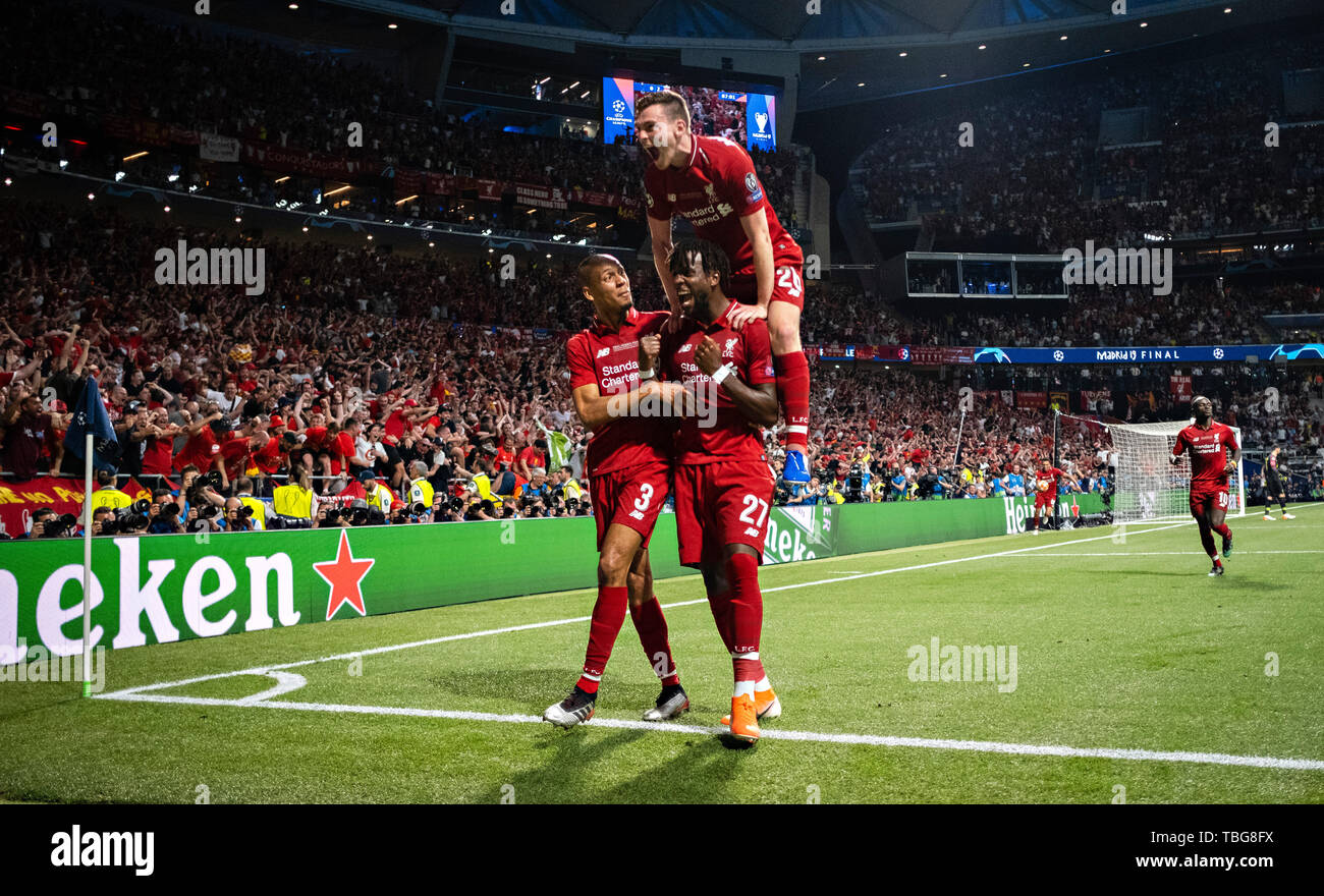 Madrid, 01.06.2019 Torjubel: Fabinho (Liverpool), Divock Origi (Liverpool), Andrew Robertson (Liverpool) Tottenham Hotspur - FC Liverpool - Stock Image
