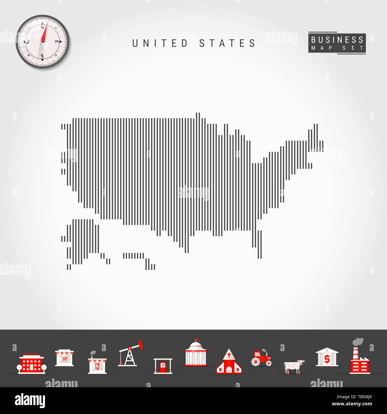 Vertical Lines Pattern Map of United States. Striped Simple ...