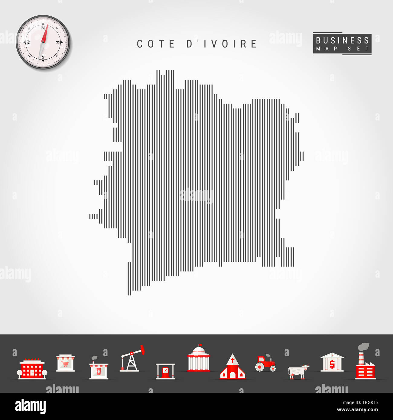 Vertical Lines Pattern Map of Cote d'Ivoire. Striped Simple Silhouette of Ivory Coast. Realistic Compass. Business Infographic Icons. - Stock Image