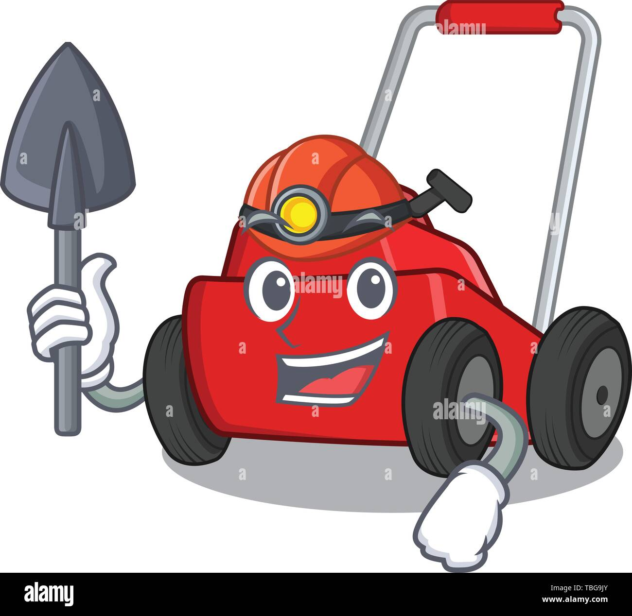 Miner lawnmower toys in the character shape - Stock Image