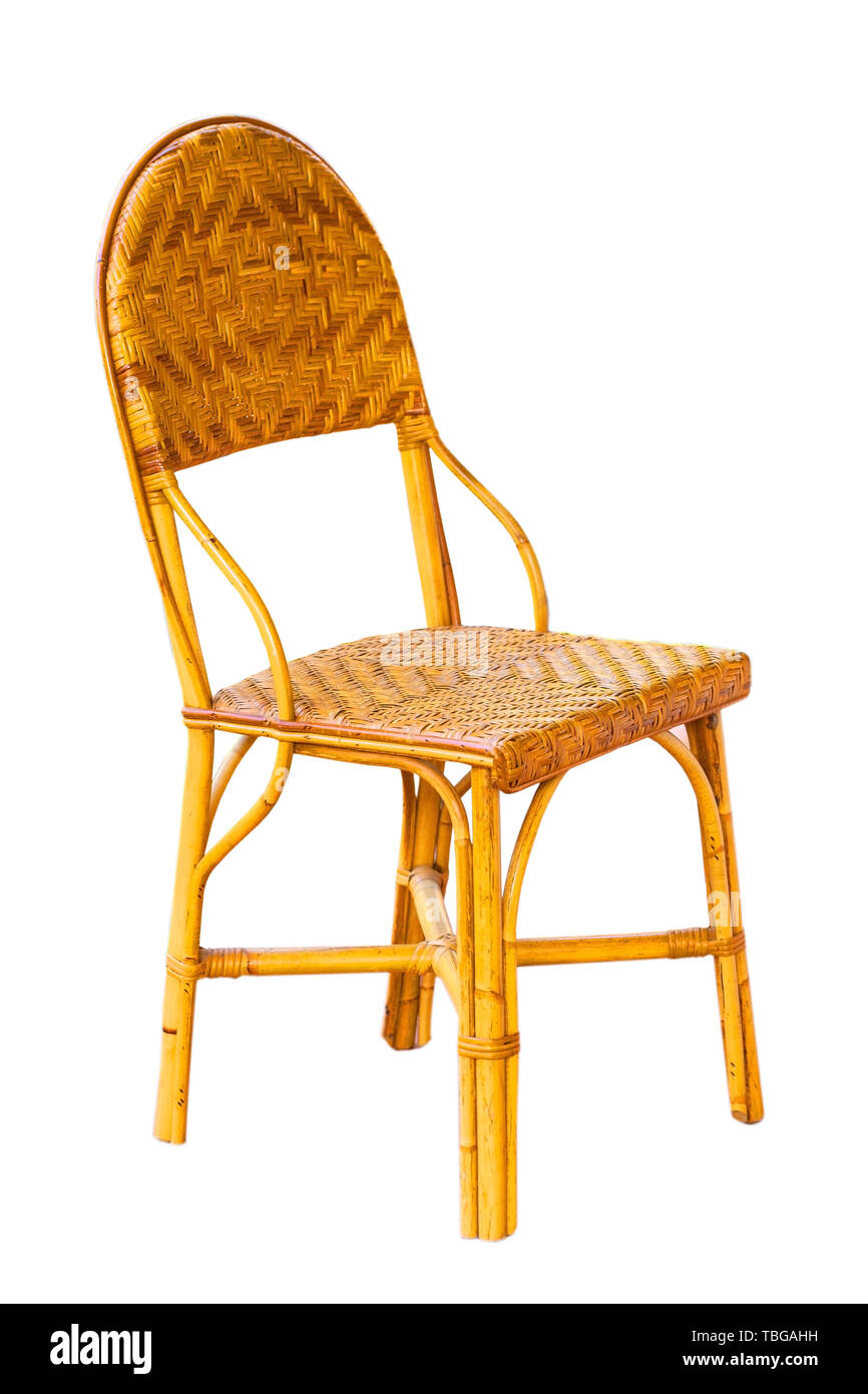wicker furniture chair isolated on white background - Stock Image