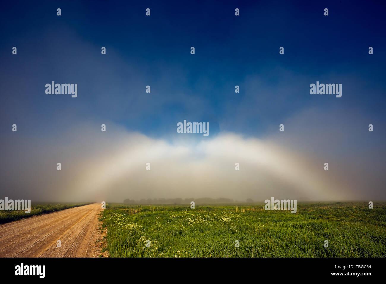 Rare White Rainbow Fogbow near the path - Stock Image