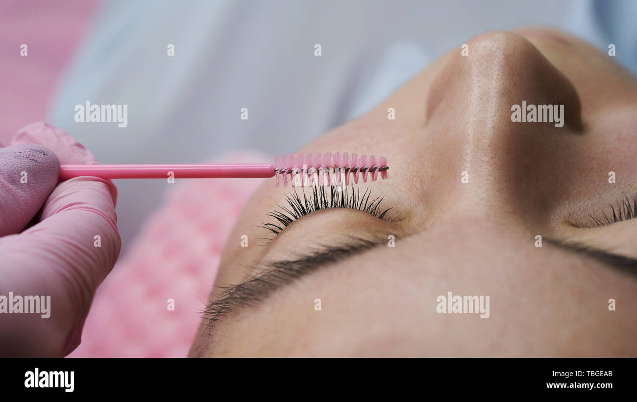 ddf89f69d42 Eyelash extension procedure. Female eyes with long eyelashes. Cosmetic  procedure in spa salon.