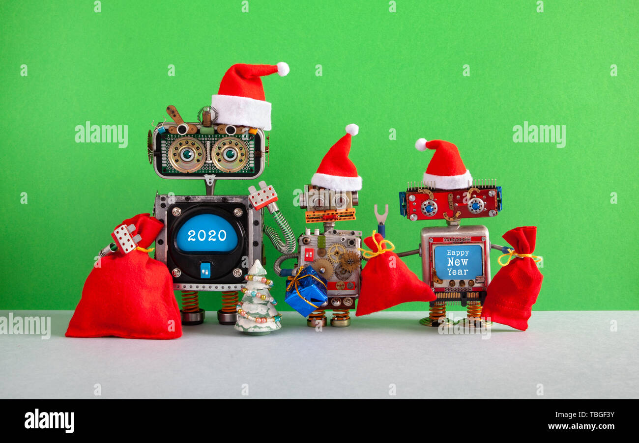 Merry Christmas And Happy New Year 2020 Funny Happy 2020 New Year Merry Christmas robotic greeting card. Three