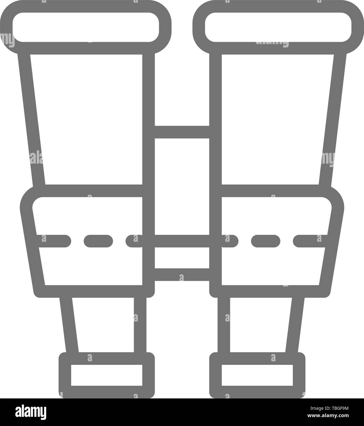 Binoculars, spy line icon. Isolated on white background - Stock Vector