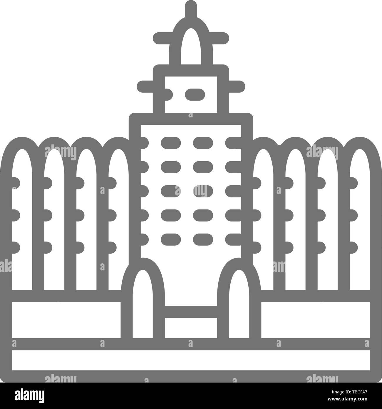 Sudano Sahelian Architecture in Mali line icon. Stock Vector