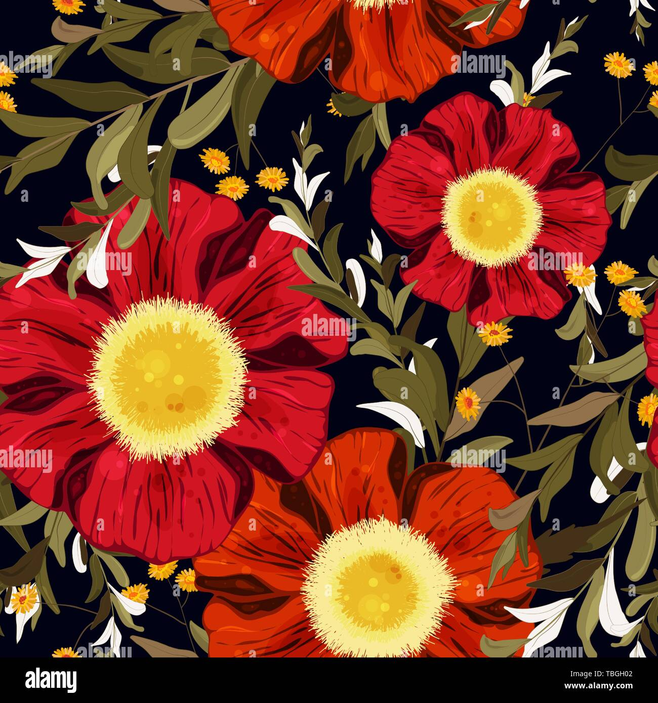 retro watercolour style floral design colorful spring seamless wallpaper with cute red and orange flowers vector hand drawn illustration set TBGH02