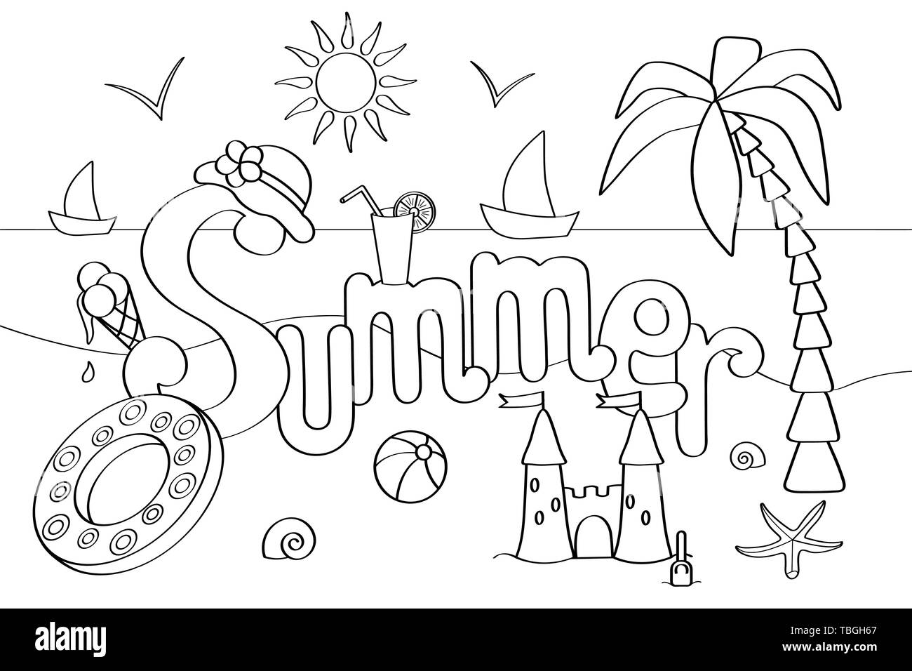 Vector coloring page on the theme of summer holidays at sea, for ...