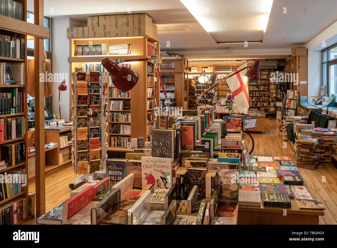 Connewitzer Verlagsbuchhandlung, famous book shop in Specks Hof , Leipzig, Germany - Stock Image